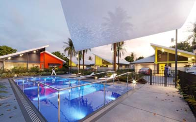 Concept render of facility showing hydrotherapy pool